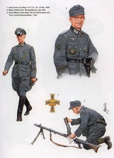 """WEHRMACHT - 1 Hauptmann, Rgmt 119 """"List"""", 57 Infanterie Divison, 1943 - 2 Major, PzGenadieren Division """" Brandeburg"""", 1944 - 3 Unteroffizier, Rgmt 134, Reichs Grenadieren Division """"Hoch und Deutschemeister"""", 1944"""