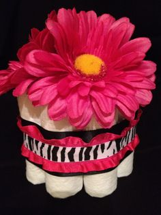 Mini Diaper Cake for Baby Girl -Zebra and Hot Pink - Perfect for a Small Gift or Baby Shower Centerpiece  https://www.etsy.com/shop/lildivas4u