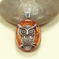 owl resin pendant
