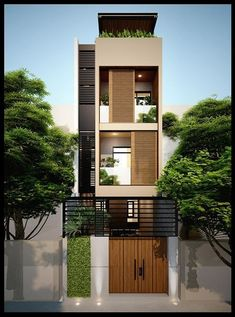 29 Best Modern Dream House Exterior Designs You Will Amazed - Flat House Design, Narrow House Designs, House Front Design, Modern House Design, Small House Exteriors, Modern Tiny House, Dream House Exterior, Style At Home, Villa Design