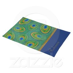 Blue, Green and Gold Toned Peacock Feathers Personalized Name or Monogram (printed) American MoJo Placemat