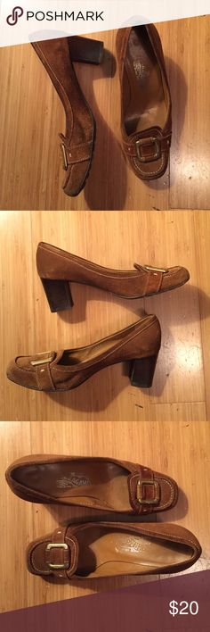 Suede Ferragamo brown pumps heels - 6.5 med Suede pump heels Ferragamo with gold logo on vamp - wooden heel lug sole - needs cleaning - see pic Ferragamo Shoes Heels