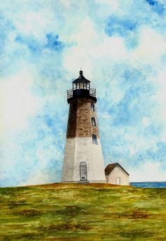 Point Judith Lighthouse Painting - Point Judith Lighthouse Fine Art Print