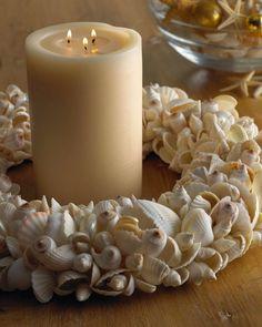 and sea shells candles ракушки, декор, свечки Seashell Wreath, Seashell Art, Seashell Crafts, Beach Crafts, Diy Crafts, Nautical Christmas, Beach Christmas, Shell Candles, Candle Rings