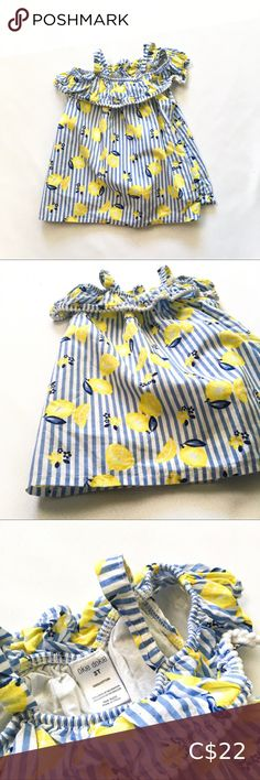 3T Girls Lemon Print Cold Shoulder Blouse Hello sweet southern mama! This little girls top speaks to my soul. I wish I had one of these in every size for my daughter! Bobble edging detail on the top ruffle and cold-shoulder with stretchy spaghetti straps.   Bright lemon print over blue and white pinstripes! Size 3T okie dokie Shirts & Tops Blouses Lemon Print, Cold Shoulder Blouse, Plus Fashion, Fashion Tips, Fashion Trends, Spaghetti Straps, Kids Shirts, To My Daughter, Southern