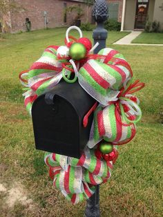 images of christmas mesh mailbox swags | This Christmas mailbox swag is made of premium red, white and green ...