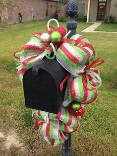 Christmas mesh mailbox swag