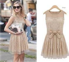New Womens Europe Fashion Yarn splicing Short Sleeve Chic Lace Dress Beige L015