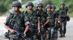 South Korean marines patrol along on Yeonpyeong The Rival, Giving Back, Three Days, Marines, Gay, Korean, Military, Places, Korean Language