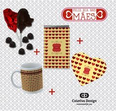 Dia das Mães - Customized For You  Coletivo Design - Caneca Personalizada + Bloquinho Personalizado + Mousepad Personalizado + 2 Pirulitos de Chocolate + 6 Bombons