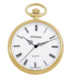 Men's Wrist Watches - Gotham Mens GoldTone Open Face Roman Dial Quartz Pocket Watch  GWC14061GR -- Click image to review more details. (This is an Amazon affiliate link)