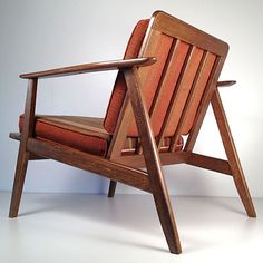 Vintage Mid Century Danish Modern Wooden Lounge Chair - Restored Wood