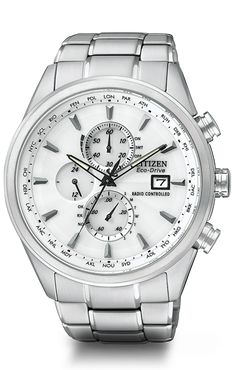 World Chronograph A-T  Model: AT8010-58B    Citizen Eco-Drive Radio-Controlled Chronograph World Timer. Automatic time in 26 world cities; radio-controlled accuracy in 5 zones. 1/20 second chrono measures up to 60 minutes, perpetual calendar, 12/24 hour time, power reserve indicator, date, non-reflective sapphire crystal, and 200M WR. Crafted in stainless steel with white dial.