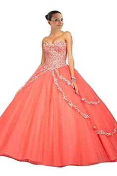 Mollybridal Women's Ball Gown Tulle Sweetheart Prom Dresses Long Coral 20W Mollybridal