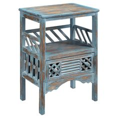 Perfect as a catch-all in the foyer or an accent for your living room decor, this rustic-chic wood end table showcases a louvered door, an upper display shel...