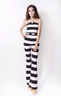 Women's black and white stripes high waisted flared by Endorphyn