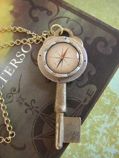 Antique Key with Compass Charm Necklace