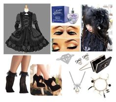 """Sem título #40"" by marykawaii1 ❤ liked on Polyvore featuring Naoto, Noir, KURO, Retrò, Lolita Lempicka, MBLife.com and Chanel"