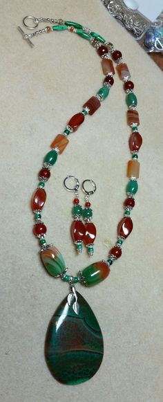 DVA Focal (wire wrap) Necklace w/ assorted gemstone beads