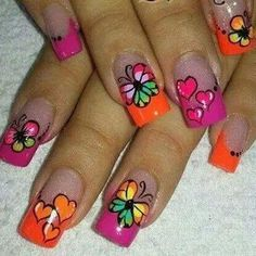 NAILS Cute Toe Nails, Cute Nail Art, Pretty Nails, Butterfly Nail, Flower Nail Art, Fabulous Nails, Perfect Nails, Rodeo Nails, Pink Nails