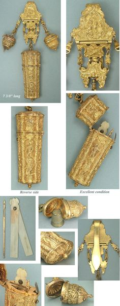 Antique French Gilded Pinchbeck Sewing Chatelaine * C1750