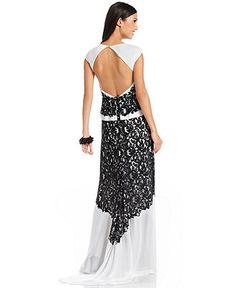 BCBGMAXAZRIA Dress, Cap-Sleeve Peplum Back-Cutout Lace Gown - Womens Fall Dress Trends - Macy's