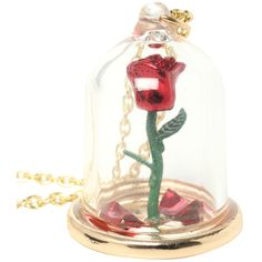 Disney Beauty And The Beast Rose Glass Pendant ($8.70) ❤ liked on Polyvore featuring jewelry, necklaces, gold, pendant jewelry, disney jewellery, glass pendants, disney and gold tone jewelry