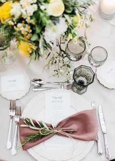 wedding place setting with mauve bow tie napkin and olive sprig accent wedding places destination Wedding Table Place Settings, Wedding Seating, Wedding Tables, Olive Wedding, Grecian Wedding, Wedding Plates, Wedding Napkins, Bow Tie Napkins, Wedding Napkin Folding