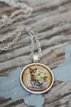 Fox in a Teacup glass necklace. Floral Shabby