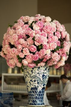 love blue and white china with pink