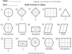 Year 2 Maths worksheets - Shading fractions worksheets (3 levels of difficulty).pdf