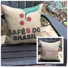 Coffee Sack Pillow, 20 x 20, by Lynda Johnston, Totally Hooked Designs