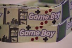 Game Boy Ribbon, 5 yards, 7/8 inch wide, Hair bow ribbon, Scrapbook ribbon, Grosgrain ribbon by LusterClusterHairbow on Etsy