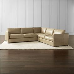 crate u0026 barrel dryden leather 3piece sectional with nailheads liked