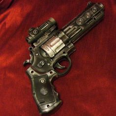 Steam punk revolver replica 'laser light' (translation: NOT an actual gun). someone make this one for real. Survival, By Any Means Necessary, Custom Guns, My Sun And Stars, Fire Powers, Cool Guns, Guns And Ammo, Self Defense, Bang Bang