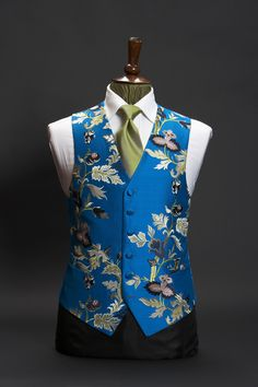 Turquoise blue silk waistcoat limited edition floral embroidered by Neal & Palmer Nehru Jacket For Men, Nehru Jackets, Indian Men Fashion, Mens Fashion Suits, Fashion Outfits, Modi Jacket, Boys Kurta Design, Designer Jackets For Men, Wedding Waistcoats