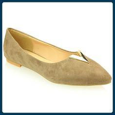 Frau Damen Abend Casual Komfort Ballerinas Sandale Pumpe Gericht Schuhe Größe (Schwarz, königliches Blau, Taupe) - Ballerinas für frauen (*Partner-Link)