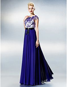 A-line Jewel Floor-length Chiffon And Lace Evening Dress – USD $ 139.99