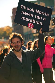 Some of the best race signs I've ever seen were from Lululemon supporters.