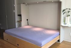 [QUESTION] How do you build a DIY murphy bed? What is the process to build a murphy bed? [ANSWER] The Murphy bed is a cross between a cabinet and a bed. It is commonly referred to as a pull-down bed, wall bed or fold-down bed. Murphy Bunk Beds, Murphy Bed Kits, Build A Murphy Bed, Murphy Bed Desk, Modern Murphy Beds, Murphy Bed Plans, Murphy Bes, Murphy Bed Hardware, Fold Down Beds