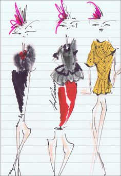 Illustrated live at the Oscar de la Renta Spring 2013 show by Jessica Repetto // For limited edition print inquiries please contact: info@jessicarepetto.com