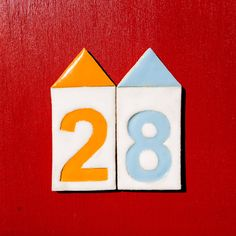 Ceramic Beach Hut Shaped House Number Tiles  by DianaParkhouse, £6.00
