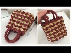 Crochet Handbags, Crochet Bags, Knitting Stiches, Knitted Bags, Mini Bag, Straw Bag, Diy And Crafts, Crochet Patterns, Bag Tutorials