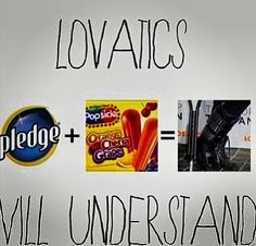 "Repin if you get it. Only a true Lovatic will<<< this is a funny post, but I HATE when people do that. ""Only a true *insert fandom name* will!"" Like, that is so stupid. So what if your not a ""true"" fan because you haven't been here very long and don't know a lot. It doesn't matter. As long as you want to be a fan and put your heart into it, it makes all the difference."