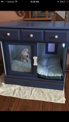 Create hidey hole crates/beds in this fashion. Make the space interesting for the terriers. Repurposed dresser into a dog crate/bed #DogCrates