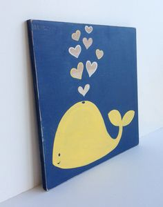 Hand Painted Navy Blue and Yellow Nautical Whale Wall Art, Yellow and Navy Blue Nautical Decor, Nautical Nursery, Kids Bathroom Art on Etsy, $40.00