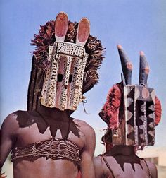 "Africa | Masked dancers. Mali | Image included in the publication ""Parures Africaines"" by Denise Paulme and Jacques Brosse"