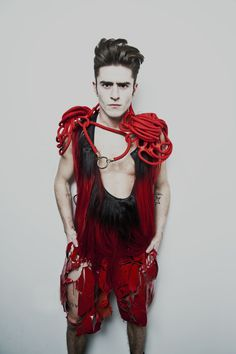 """""""I was almost killed by a shark. It was actually a lion! Conceptual Fashion, Red Swimsuit, Raining Men, Men's Collection, Alternative Fashion, Sexy, Menswear, My Style, Style Men"""