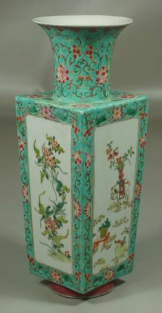 Chinese porcelain famille rose decorated vase with elephants, mark to base, 13""