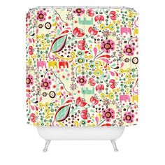 Floral-print showeer curtain by Rebekah Ginda Design for DENY Designs. Love the colors to base a whole bathroom off of.